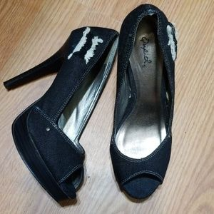 Qupid Black Distressed Denim Heels Platform 8-8.5M